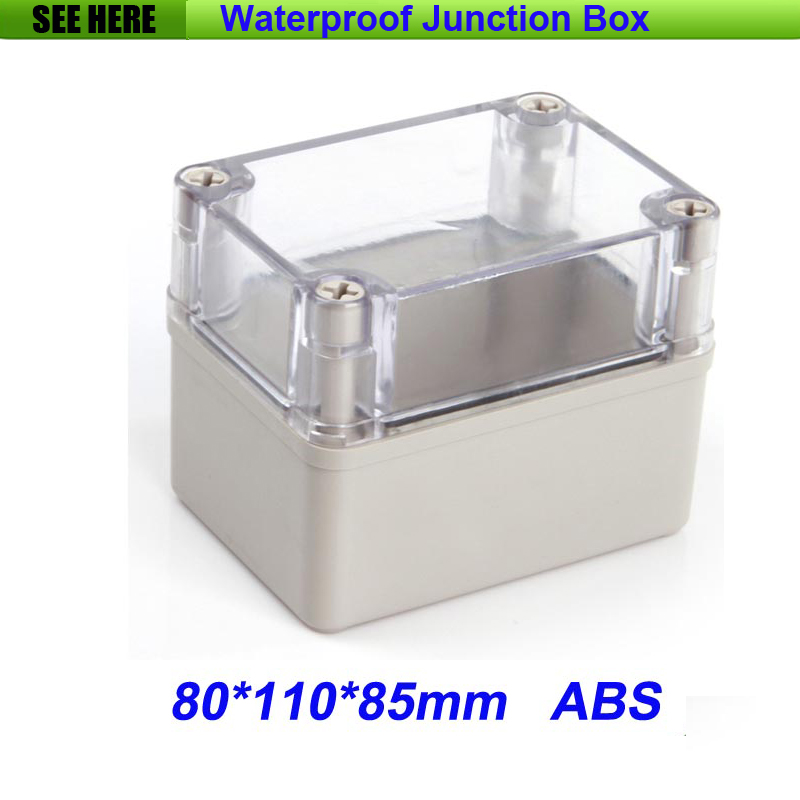 все цены на Free Shipping Good Quality ABS Material Clear Cover IP66 waterproof junction box 80*110*85mm