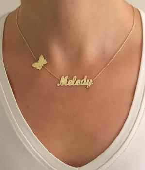 Personalized Custom Name Necklaces For Women Nameplate jewelry stainless steel long necklace butterfly cross heart crown pendant - DISCOUNT ITEM  20% OFF All Category