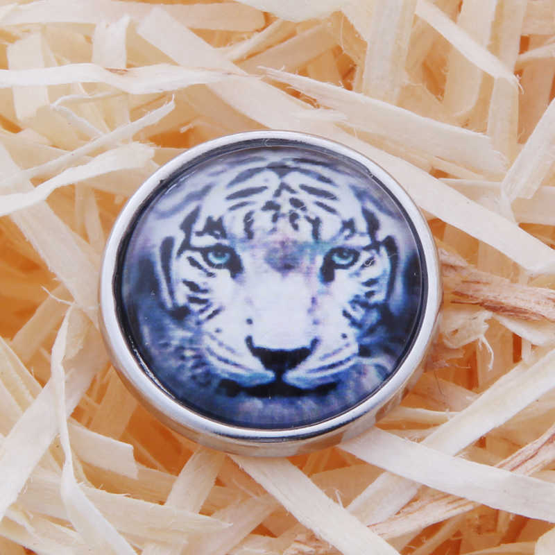 Wholesale Cartoon tiger Snap Jewelry 18mm Snap Buttons DIY Glass Buttons For Women TZ4111