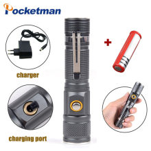 8000 Lumens Zoomable T6 Flashlight 3 Modes Tactical Direct Charging Torch Portable Aluminum use 18650 Battery(China)