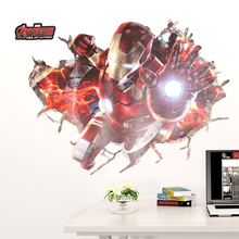 Wall Art Graphic THE AVENGERS Ironman Smashed Printed Vinyl Sticker Decorative 3D Look Poster Kids Boys Bedroom Decor Decal