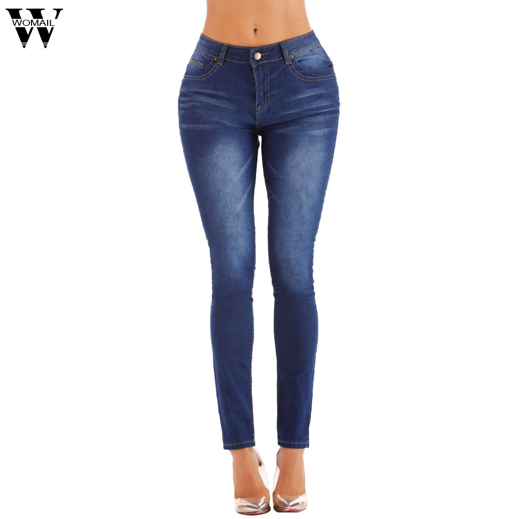 Womail Jeans Women's Fashion Solid Color Straight Slim Denim Trousers Small-footed Jeans Bodybuilding For Ladies Dropship May27