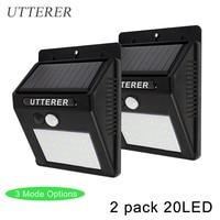 Outdoor 3 Mode 2 Pack 20LED Solar Powered Light Bulb PIR Motion Sensor Waterproof Garden Street