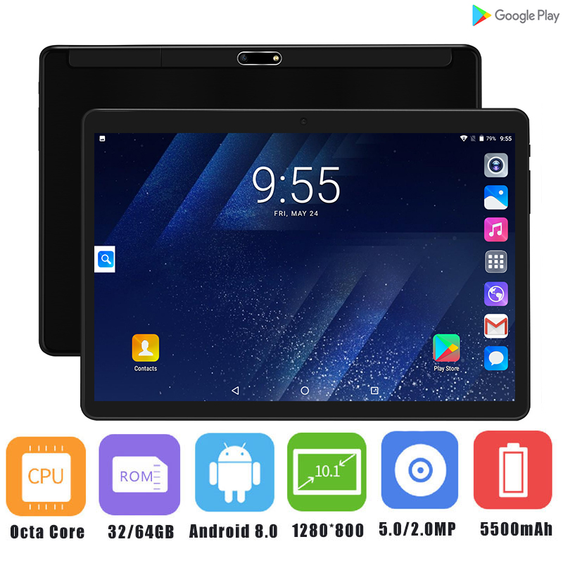 Super 2 5D Glass Android 8 0 OS 10 inch Tablet PC Octa Core 4GB RAM