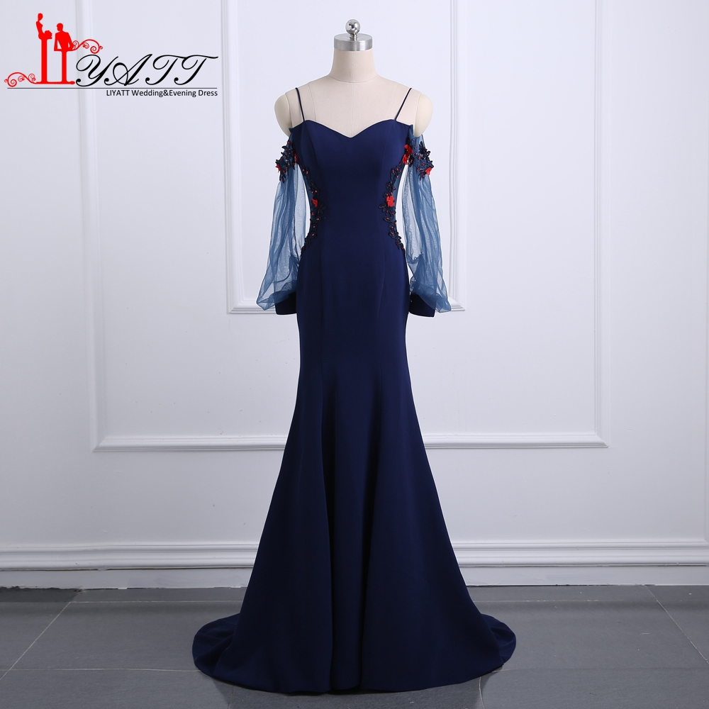 Navy Blue Evening Dresses 2017 Real Photos Spaghetti With 3D Floral Lace Flowers Long Prom Dress