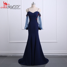 Navy Blue Evening Dresses 2017 Real Photos Spaghetti With 3D Floral Lace Flowers Long Prom Dress Mermaid Evening Gowns MN174
