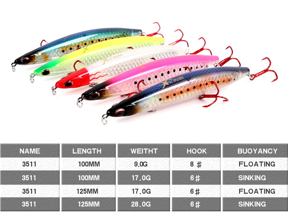 Kingdom Sea Fishing Pencil Lures 125mm 100mm Floating & Sinking Hard Lure With VMC Hooks Bass Fishing Bait Model 3511 (1)