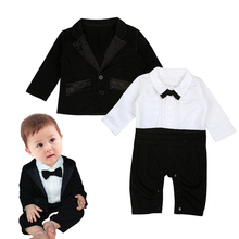 Фотография Winter Style 2017 Newborn Baby Rompers Boy Clothes Black Business Suit Clothes Jumpsuit 100% Cotton Infant Clothes