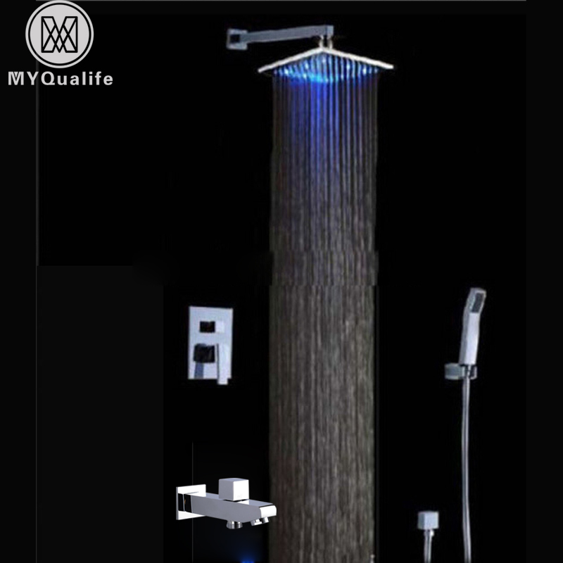 LED Light Shower Faucet Mixer Sets Wall Mounted Concealed Bath Shower Mixer tap with Handshower Chrome Hot and Cold Water Tap free shipping polished chrome finish new wall mounted waterfall bathroom bathtub handheld shower tap mixer faucet yt 5333