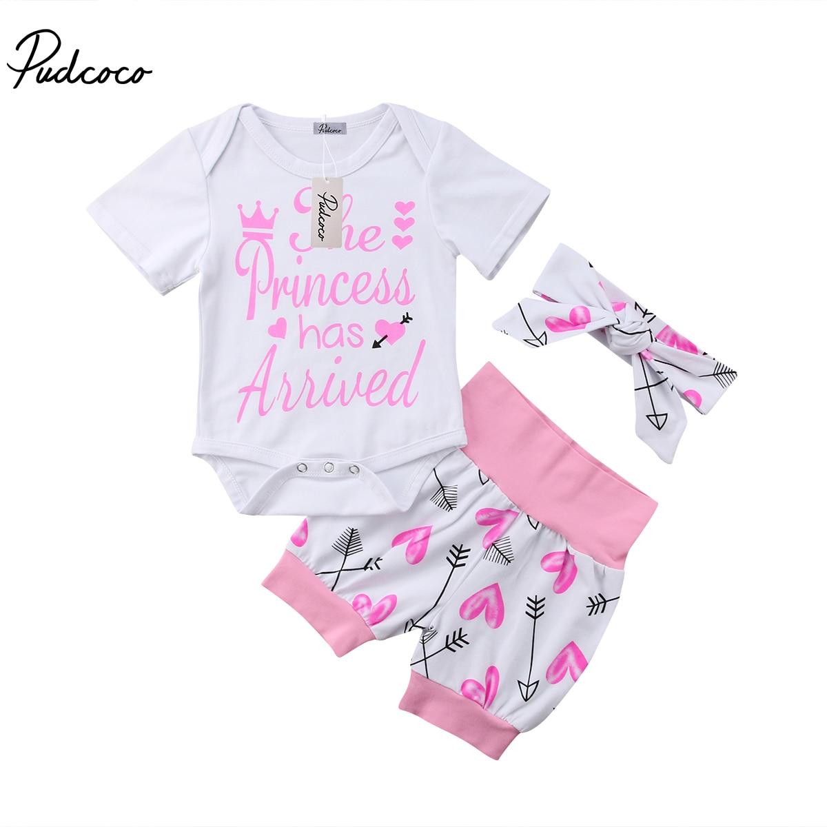 Pudcoco Newborn Baby Girls Clothes Cotton Letter Print Romper Pants Leggings Outfits Set Summer Infant Clothing 3pcs