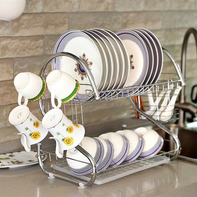 Dropship Kitchen 2 Tiers Dish Drying Rack Home Washing Holder Basket Plated Iron Kitchen Sink Dish