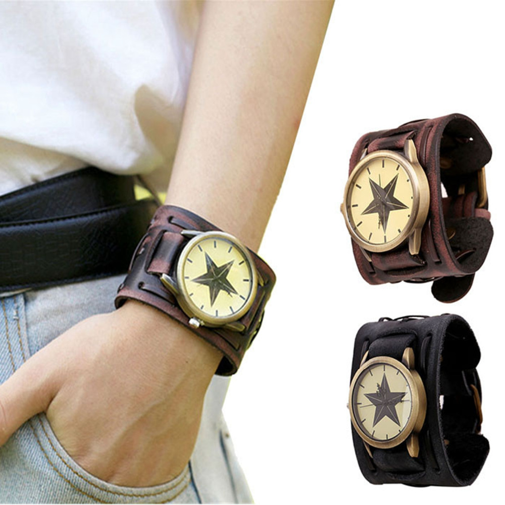New Style relogio masculino quartz watch men Retro Punk Rock Brown Big Wide Leather Bracelet Cuff Men Watch Cool clock #5 punk style golden color men s cuff bracelet