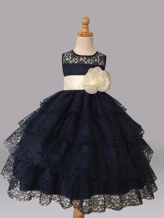A-Line Flower Girls Dresses For Wedding Gowns Tulle Beauty Pageant Dresses for Kids Lace  Dresses Holy Communion