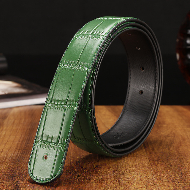 3,3-3,8 cm moda Plaid negro cinturones de cuero genuino sin hebillas verde naranja Mens cinturones de marca de lujo ceinture Homme