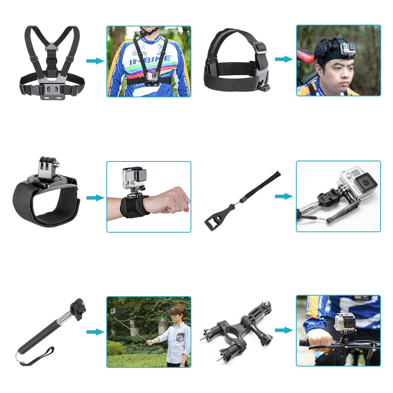 14-in-1 game External sports indispensable accessories for Gopro Hero4 Hero 1 2 3 3+ 4, SJ4000, and Sports Cameras of all others