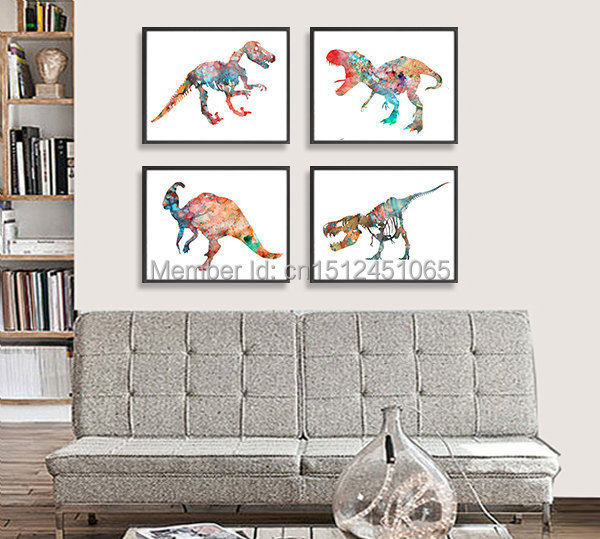 New modern abstract dinosaur watercolor painting print on for Dinosaur pictures for kids room