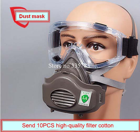 high quality respirator dust mask Windproof Goggles + dust mask + 10 filter cotton KN95 anti pollution anti-dust respirator 50pcs high quality dust fog haze oversized breathing valve loop tape anti dust face surgical masks