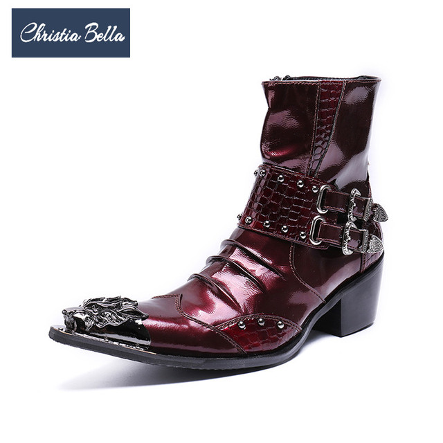 Christia Bella New Fashion Genuine Leather Men Boots Rivets Buckle Ankle Boots British Style Red Men Motorcycle Boots Plus Size