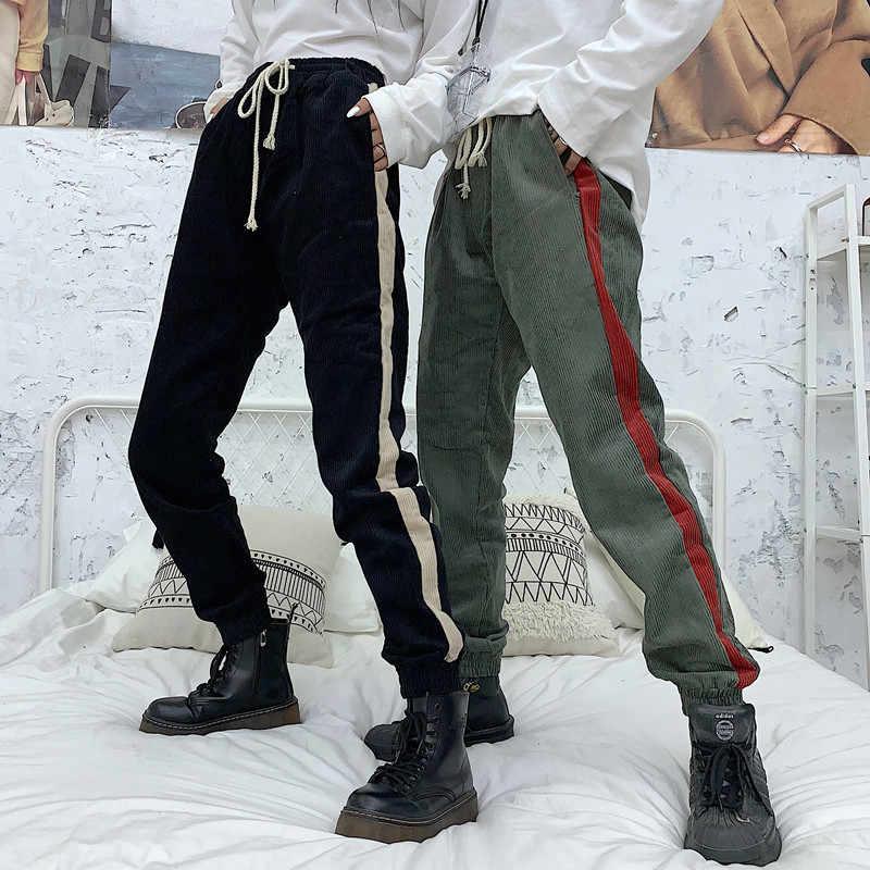 CheerSolo 原宿コーデュロイパンツ冬のスウェットパンツのズボン女性愛好家都市サイドストライプストリートパンツ服