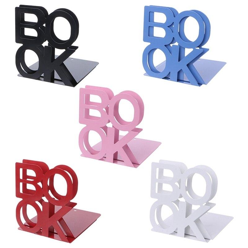 Hogar libro Palabra sujetalibros Hierro creativo sujetalibros portátil De almacenamiento De titular Durable Hierro Soporte De Escritorio Para Libros