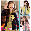 2016 Hot outono moda primavera crianças urso roupas doce cor Casual algodão renda Girls casaco unissex crianças Cardigan Outwear