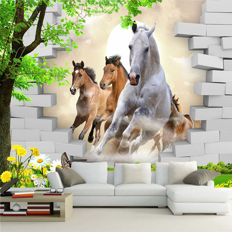 Custom Photo Wallpaper 3D Stereo Horse Broken Wall Mural Brick Wall Paper Living Room TV Background Wall Painting 3D Home Decor
