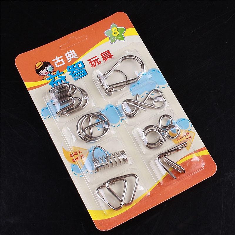 8 pz / set puzzle di puzzle in metallo classico teaser iq filo cervello materiali Montessori giocattoli educativi per bambini regalo per i bambini