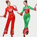 2016 Nuevo de Las Mujeres de Peonía Fan Yangko Danza Disfraces Rojo \ verde de Manga Larga de Empalme Del Tambor de la Cintura de Mediana Edad Grupo Nacional Cuadrado