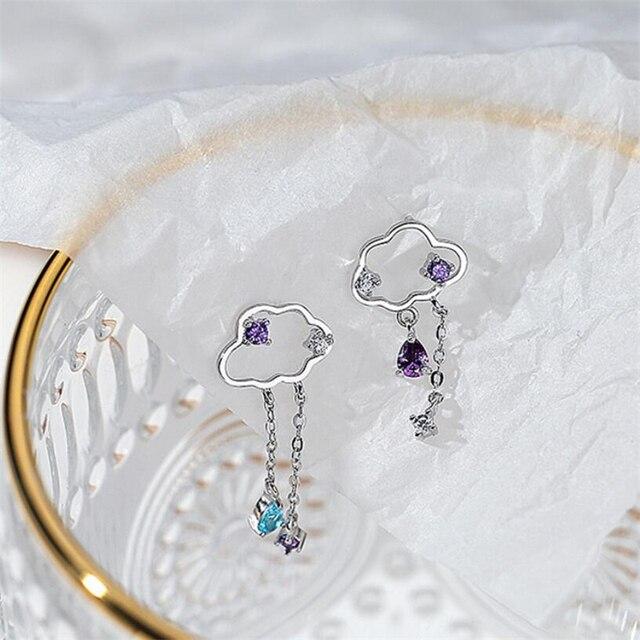 Asymmetry Hollow Clouds 925 Sterling Silver Earrings 5