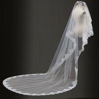 Free Shipping One Layer Long velos de novia Bridal Veils Wedding Accessories 2019 veu de noiva longo Real Tulle voile maria