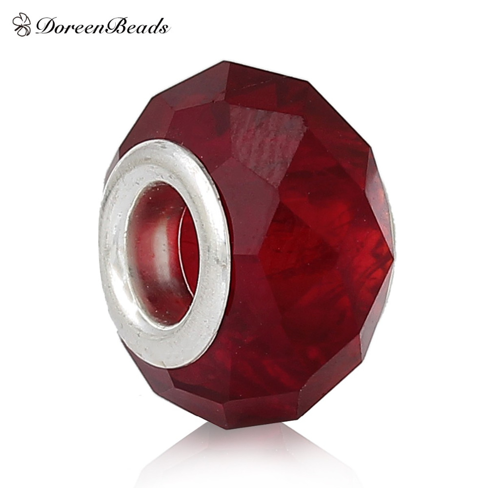 """DoreenBeads European Style Charm Glass Beads Drum Red Wine Faceted About 14mm( 4/<font><b>8</b></font>"""") <font><b>x</b></font> 9mm( <font><b>3</b></font>/<font><b>8</b></font>""""),Hole: Approx 4.9mm,10 PCs"""