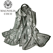 купить Scarf 180x65 cm 100% Brand New Skull Scarf Pattern Designed For Women Summer Print Silk Scarf Shawl HAS-5 Free Shipping по цене 1319.4 рублей