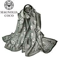 MAGNOLIA Scarf 180x65cm 100% Brand New Skull Scarf Pattern Designed For Women Summer Print Silk Scarf Shawl HAS 5 Free Shipping