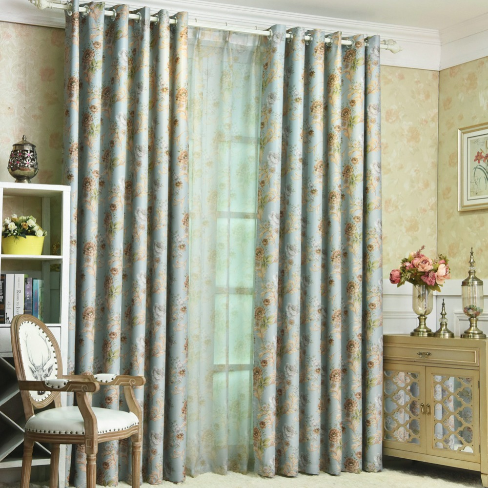 Short curtain treatment Blackout window modern floral drapery window kitchen living pink shade blue bedroom room curtains