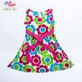 Belababy sunflower casual meninas vestidos moda verão impresso vestido de verão para a menina crianças coreano vestidos de traje de festa à noite