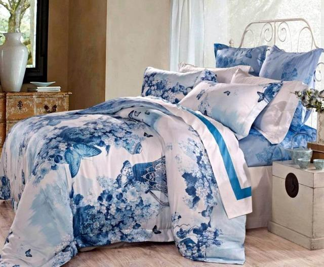 82ec345b165f Blue Egyptian cotton butterfly luxury bedding comforter set king queen size  duvet cover bedspread bed in a bag sheets quilt