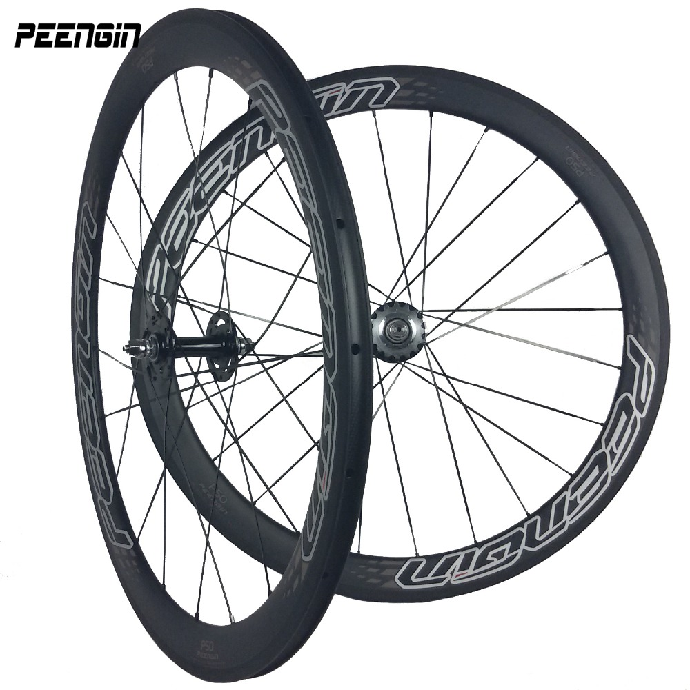 carbon track bike wheels roues velo New U shape ruedas carretera 23mm width 50mm depth single speed rims clincher fixed wheelset(China)