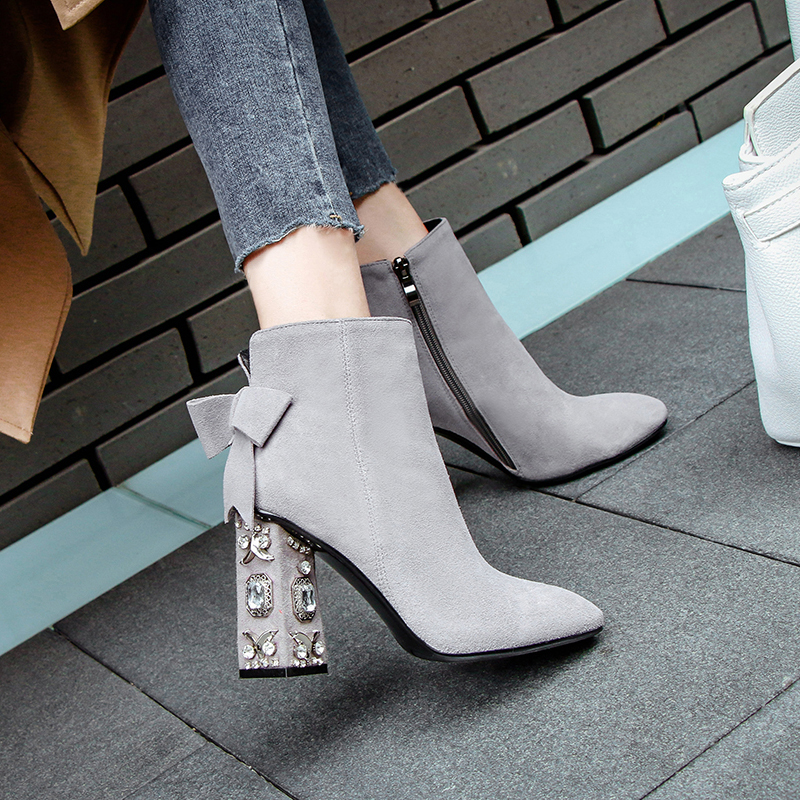 Women's Genuine Suede Leather Rhinestones Heel Autumn Ankle Boots Brand Designer Square Toe Sweet Boties Short Booties Shoes Hot