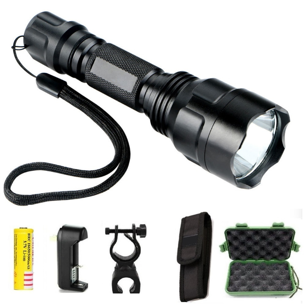 Powerful LED Hunting Tactical Flashlight Torch cree Q5 5 ...