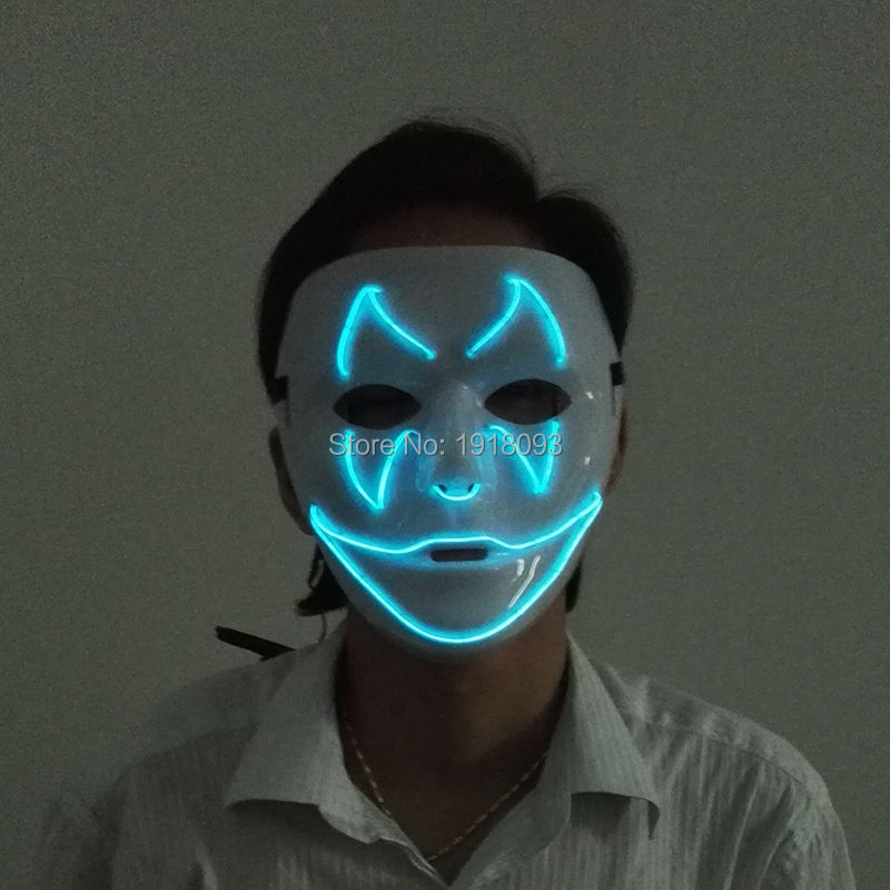 NEW Style EL wire bat smile Masks Halloween Mask Flashing glowing Neon light Festival LED Strip Carnival Mask For Party decor zombie skull skeleton half face masks for movie prop cosplay halloween airsoft paintball protective masks authorized chief m05
