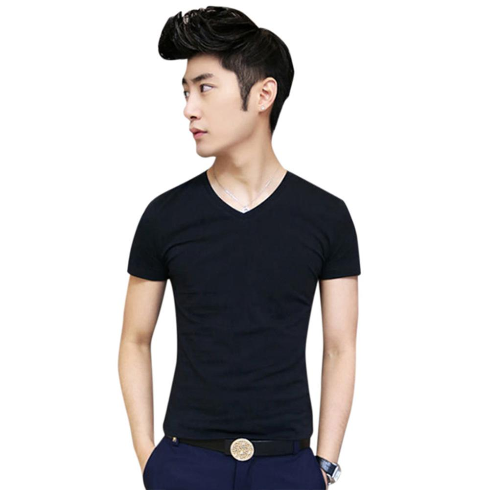 None Men Fashion Casual Short Sleeve V Neck T Shirt Sexy Slim Solid Color Tops High Quality Simple Natural Summer Shirt Boy in T Shirts from Men 39 s Clothing