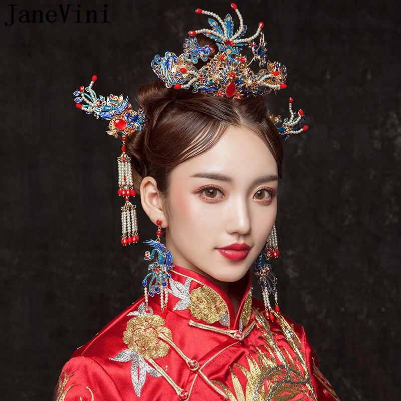 JaneVini luxueux chinois bleu coiffure de mariée ornement antique Phoenix couronne perles glands épingles à cheveux accessoires de cheveux de mariage