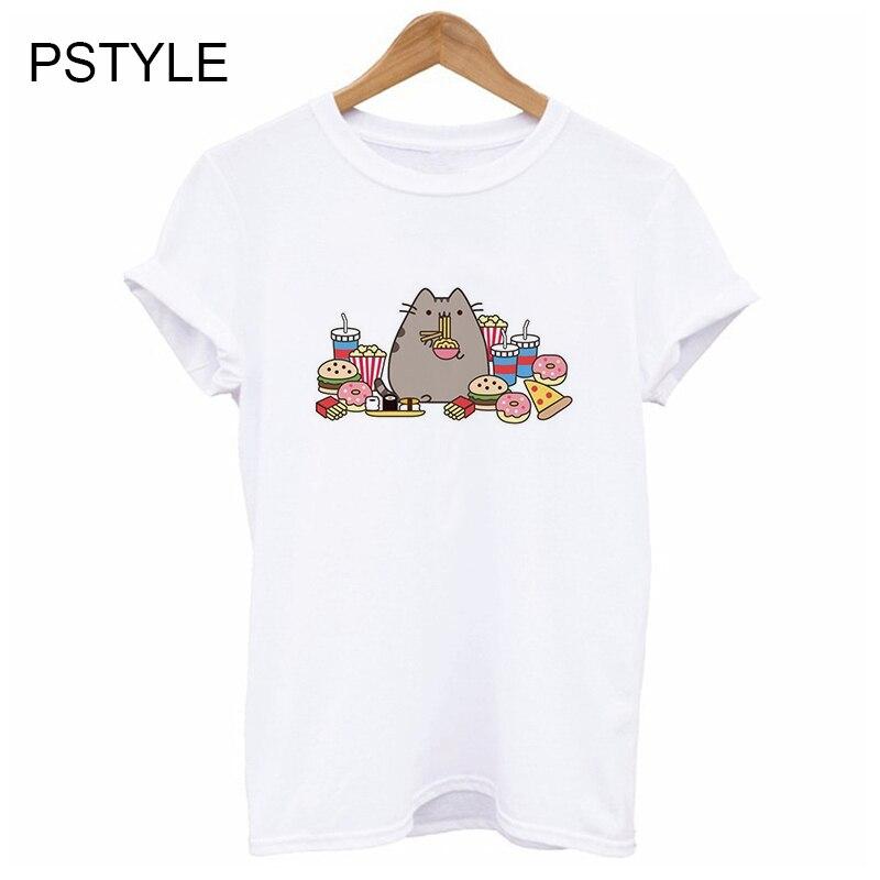 Cartoon Cats T Shirt Women Short Sleeve Summer O-Neck White Casual Tshirt Harajuku Kawaii Graphic T-shirt Design Tee Tops Female