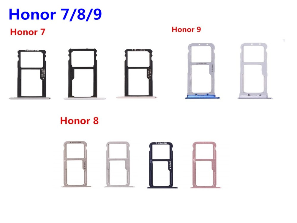1PC New Sim Card Tray For Huawei Honor 7 8 9 SIM Card Tray Holder Carrier Nano Card Tray Slot Holder Replacement Part