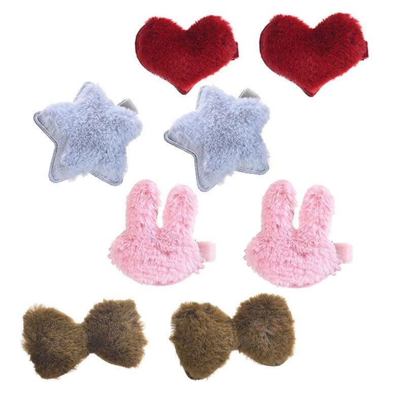 M MMISM Cute Love Star Hair Clip Coloful Rabbit Hairpins Barrette Children Kids Plush Bow Faux Fur Baby Hair Accessories Gift