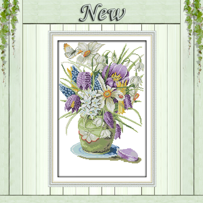 Vase flowers china butterfly decor painting counted