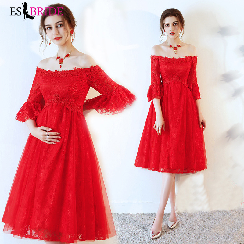 Red   Evening     Dresses   Long Pregnant Woman   Evening   Gowns for Women Elegant A-line Mother of The Bride   Dresses   Plus Size ES2461