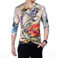 2016 Fashion New Chinese Style Men's T Shirts Slim Fit Long Sleeve 3D T Shirt Mens Dragon Print Tee Casual Cotton T-Shirt M-5XL
