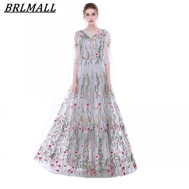 f173b6576 BRLMALL Hermosos Bordados de plata Vestidos de Noche con mangas 3/4 Floral  Vestido de