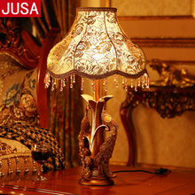 YOOK 32x48cm Retro Resin Table Lamp for Bedroom Double Peacock Carving Dimming Classical Remote Control